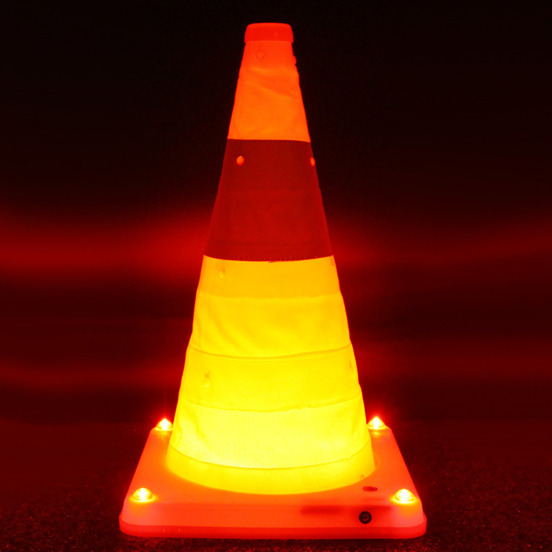 Free Shipping! Collapsible Traffic Cone With LED Warning Light Road Warning Sign Strong Reflective Material(China (Mainland))