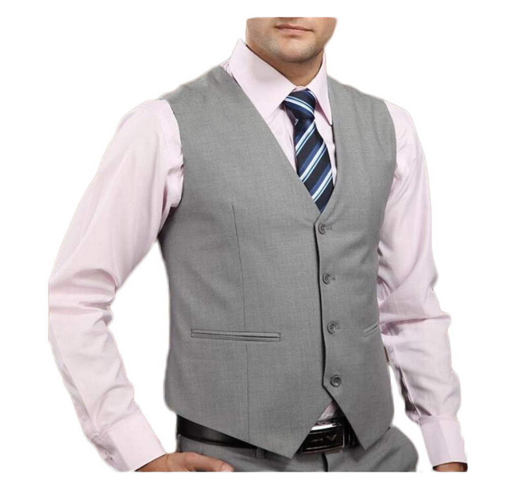 2017 Classic Spring Autumn Men Suit Vest Single-Breasted Black Navy Grey Separate Casual Waistcoat 4 Bottons for Formal Occasion