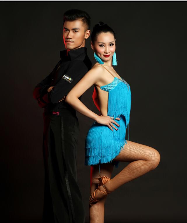 world fashion Latin Dance Dress one piece latin competition costume blue tassel latin dress