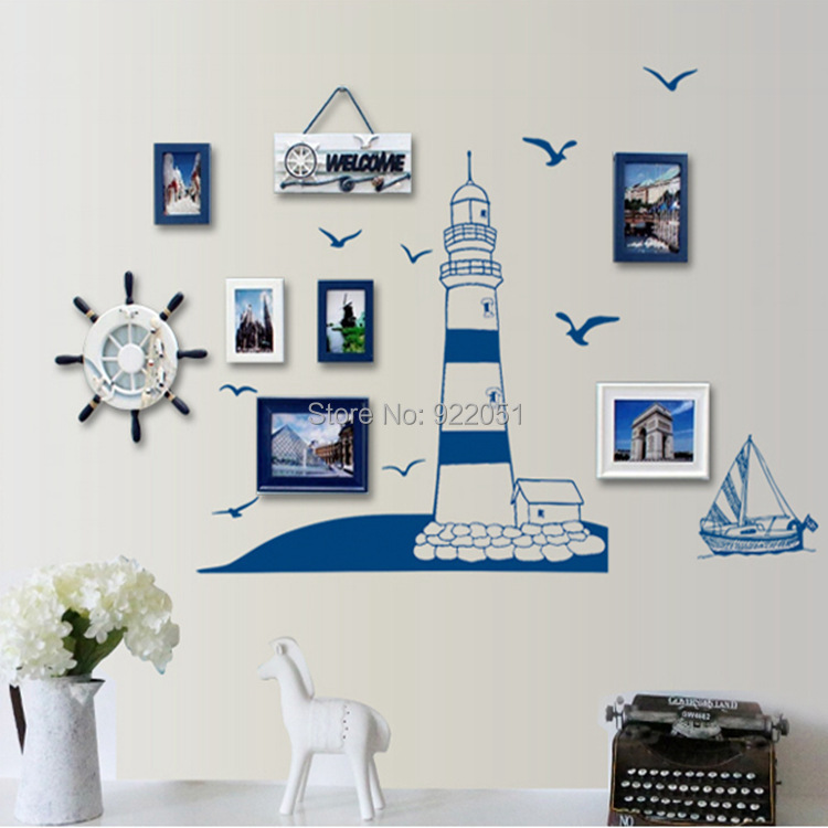 Blue Seaside Lighthouse Vinyl Wall Stickers For Kids