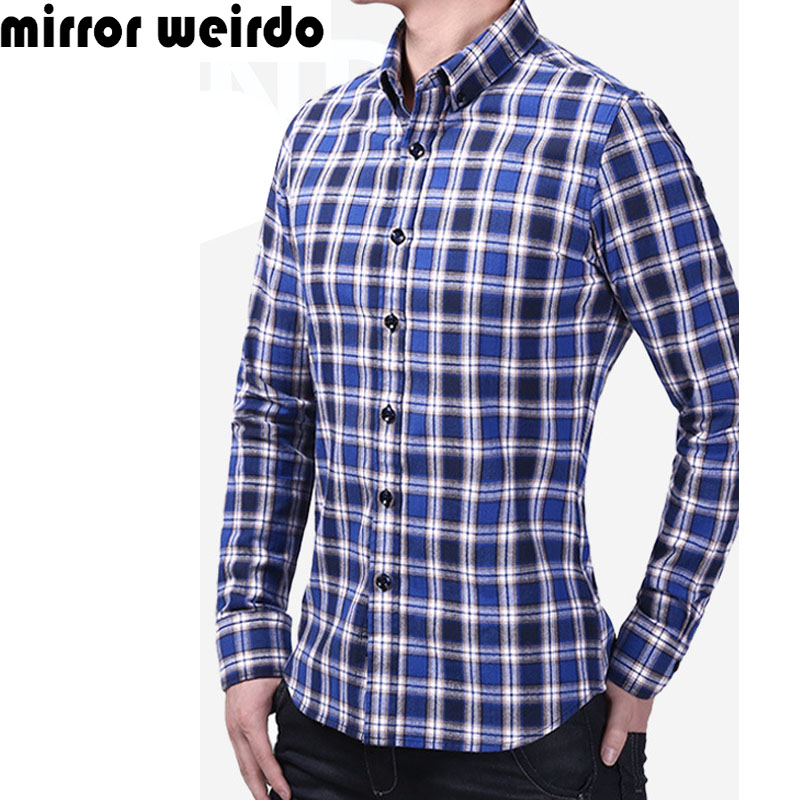 2016 All Cotton Chemise Homme Camisa Social Masculina Casual Plaid Men Shirts Fashion Vetement Homme Business