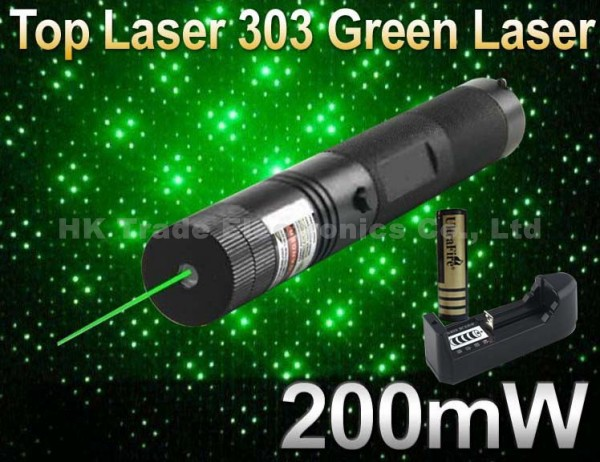 Laser 303 200mW Green Laser Pointer Adjustable Focal Length and Star Pattern Filter+ 4000MAH 18650 Battery+ charger(China (Mainland))