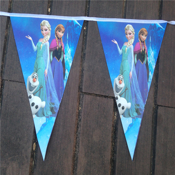 Free shipping Elsa Anna Kid Boy Girl Baby Happy Birthday Party Decoration Kids Supplies Favors Princess Pennant 1Pack P165