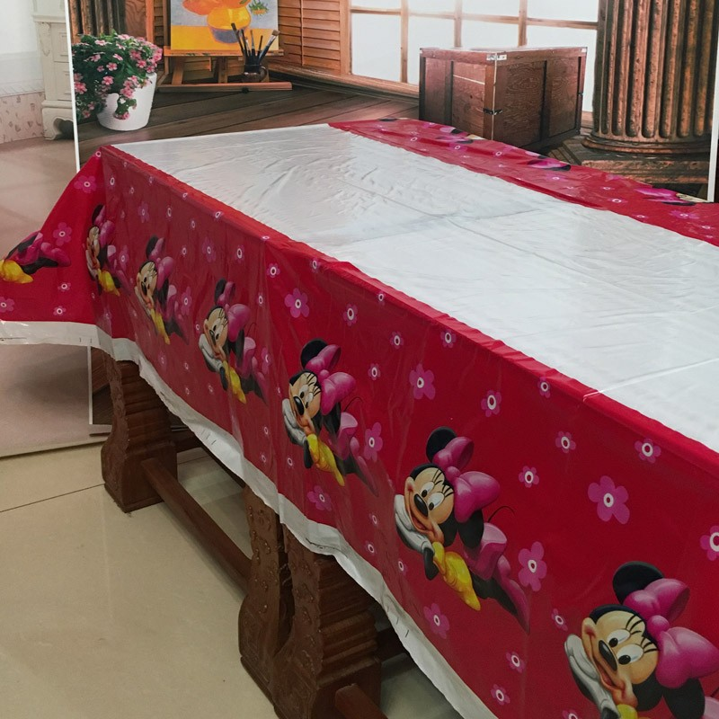 108cm*180cm lovely cartoon minnie mouse tablecloth party supplies tablecloth favor 1pcs/lot kids girls birthday party decoration(China (Mainland))