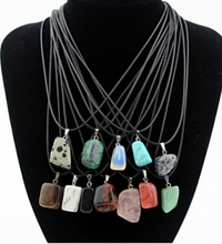 1Pcs Free Shipping Summer Style Natural Stone Pendant Necklace For Women Irregular Crystal Gem Stone Statement Leather Necklaces(China (Mainland))