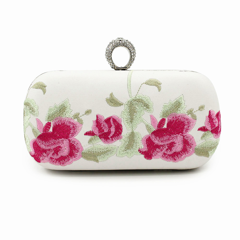 Handmade Chinese Style Clutch Embroidery Flowers Cotton Hand Bag Ring Diamond Chain National Wind Vintage Evening Handbags A086(China (Mainland))