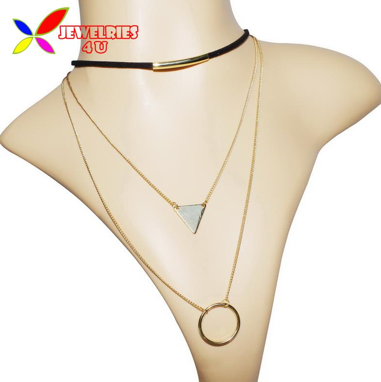2016 Hot Leather Necklaces Fashion Trendy Bold Multi-Layers Circles Triangles False Collar Pendants Necklaces For Women Bijouxs(China (Mainland))
