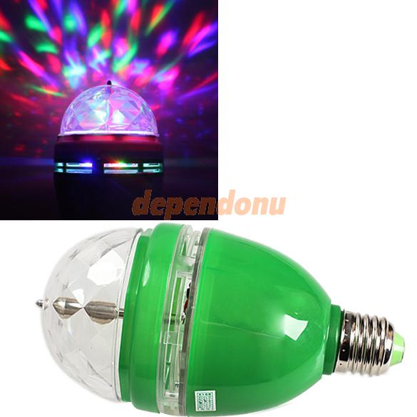 Full Color Changing RGB LED Sound Activated Rotating Stage Lamp Light Bulb Free Shipping(China (Mainland))
