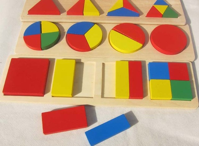 Free Shipping Children's Wooden Jigsaw Geometry Three Shapes Plate Educational Toys Good Gift For Kids