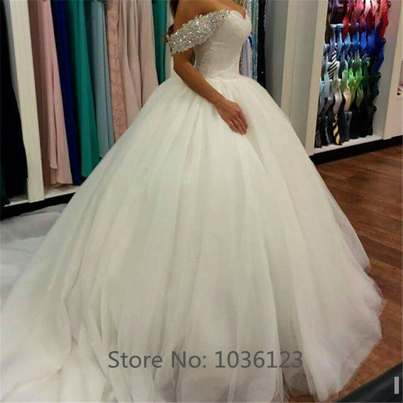 Vestidos de noiva Custom Bodas Short Sleeve Ball Gown Wedding Dresses 2015 Tulle Fashionable Long Elegant