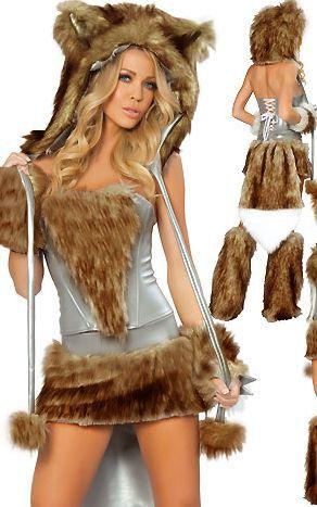 Free Shipping Hot Beautiful Furry Animal Costumes PP1099 Sexy Big Bad Wolf costume(China (Mainland))