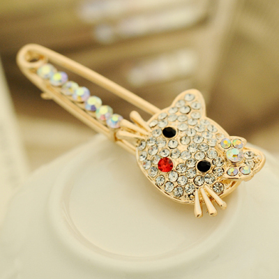 2015 New Women's Fashion Noble Apparel Accessories 18K Gold-Plated high-Quality Rhinestone Personalized Sweet Kitty Brooches Z-6(China (Mainland))