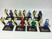 JX1001 10Lot Building Blocks Super Heroes Avengers Minifigures Iron Man Deadppol Batman Enlighten Bricks Mini Figures Kids Toys