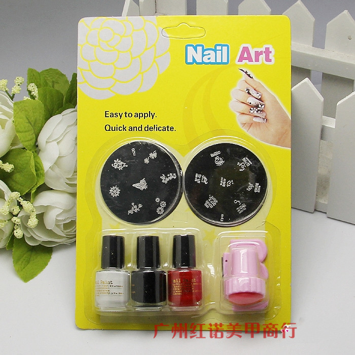 Nail At Template Konad Stamping Image Plates set 2pcs plates+3colors stamping polish+1sets stamping Nail Polish Stamp 6pcs/set(China (Mainland))