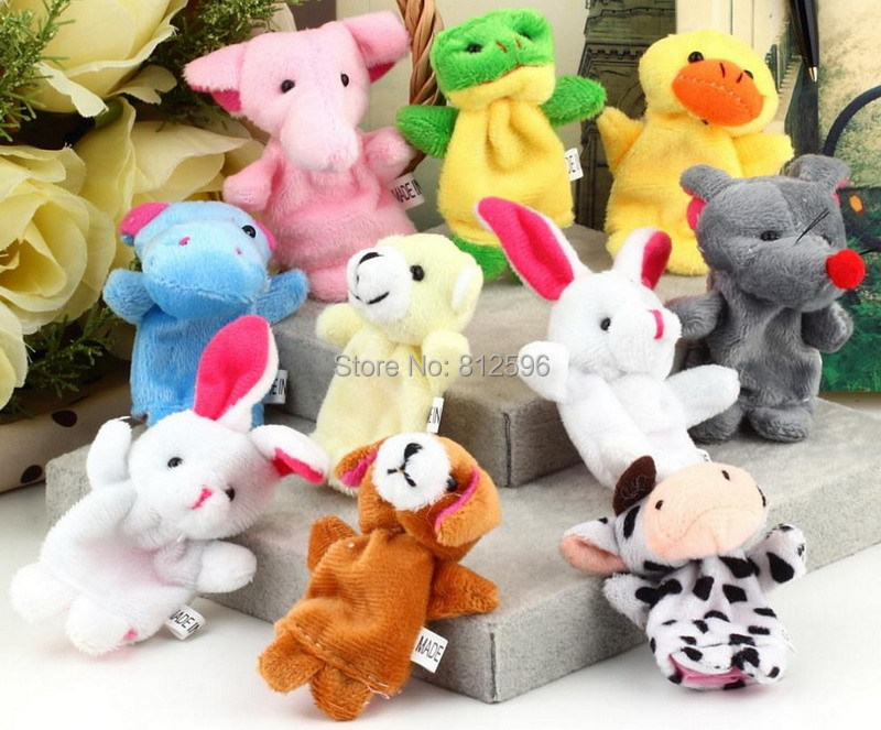 Free Shipping 60pcs Baby Cartoon Animal Plush Finger Puppets Set Bright Color Funny and Educational Story Telling Toy(China (Mainland))