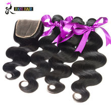 8A Brazilian Body Wave With Closure Unprocessed Human Hair Bundles With Lace Closures Ms Lula Brazilian Virgin Hair With Closure(China (Mainland))