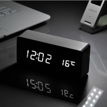 Big Grace White LED wooden Board alarm clock+ Big Temperature thermometer voice activated,Battery/USB power /luminova home decor