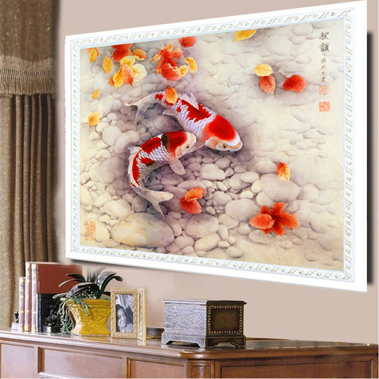 5D diamond fish Defoliation embroidered paintings autumn Knitting Needles living room restaurants pictures Shiny New Drill(China (Mainland))