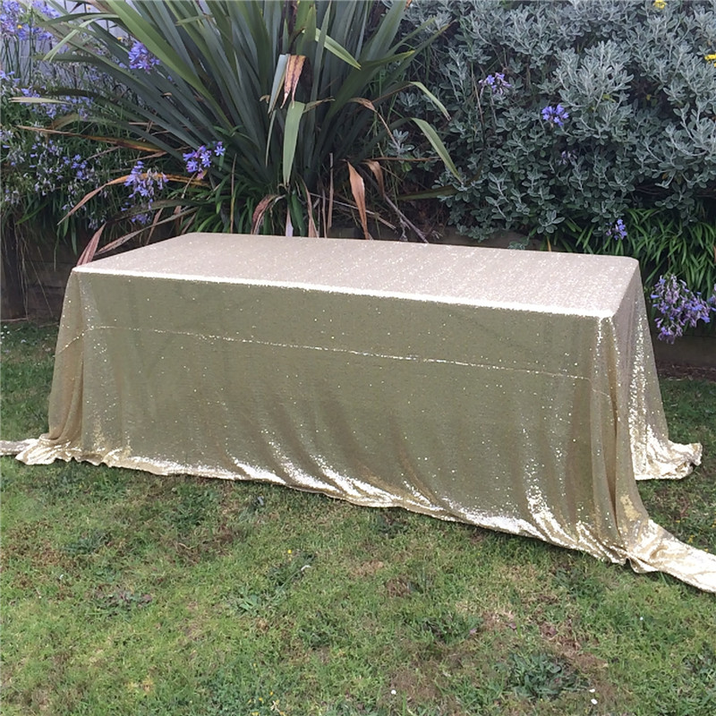"""Sequin Tablecloth Wedding Cake Tablecloth ,90""""X156""""Matte Gold Rectangle Sequins Table Linen Wedding Sequin Table Linens(China (Mainland))"""