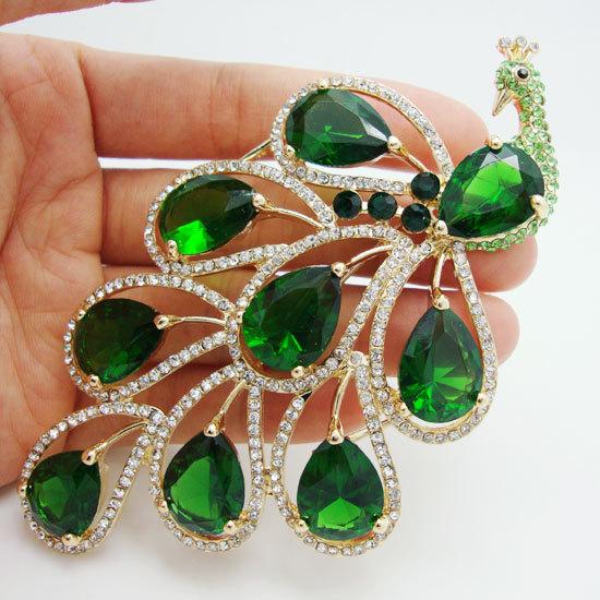 Vintage Nigerian African Jewelry Pendant Classic Emerald Green Peacock Bird Rhinestone Crystal Brooch Pin Earring Set(China (Mainland))