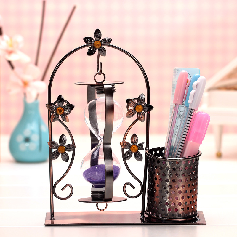 Vintage Art Decoration Decorative Wrought Iron Furniture Pen Hourglass Office Home Accessories Ornaments SandGlass Iron Craft(China (Mainland))