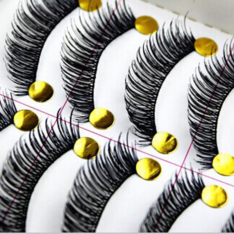 Handmade Eyelashes 50 pairs Black Color Full Strip Lashes Thick Eyelashes Synthetic Hair False Eyelashes(China (Mainland))