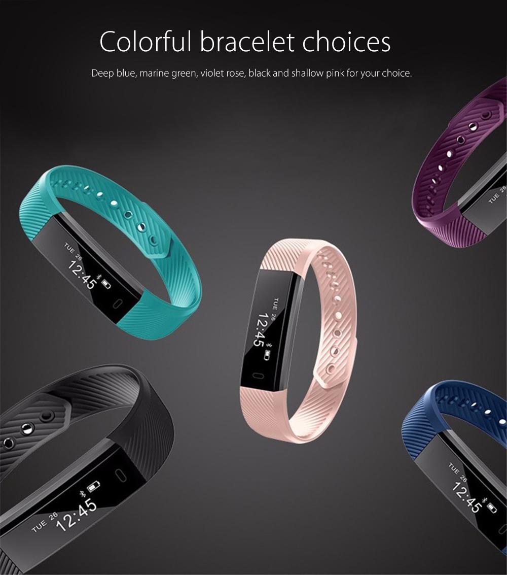 image for Original ID115 Smart Bracelet Fitness Tracker Watch Alarm Clock Step C