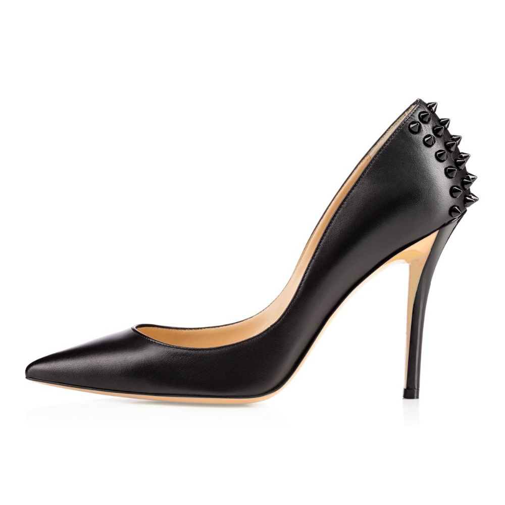 Aibarbie Womens Ladies Handmade Fashion 100mm High Heel Pointed Toe Pumps Rivets Deco For Wedding Party Dress Shoes