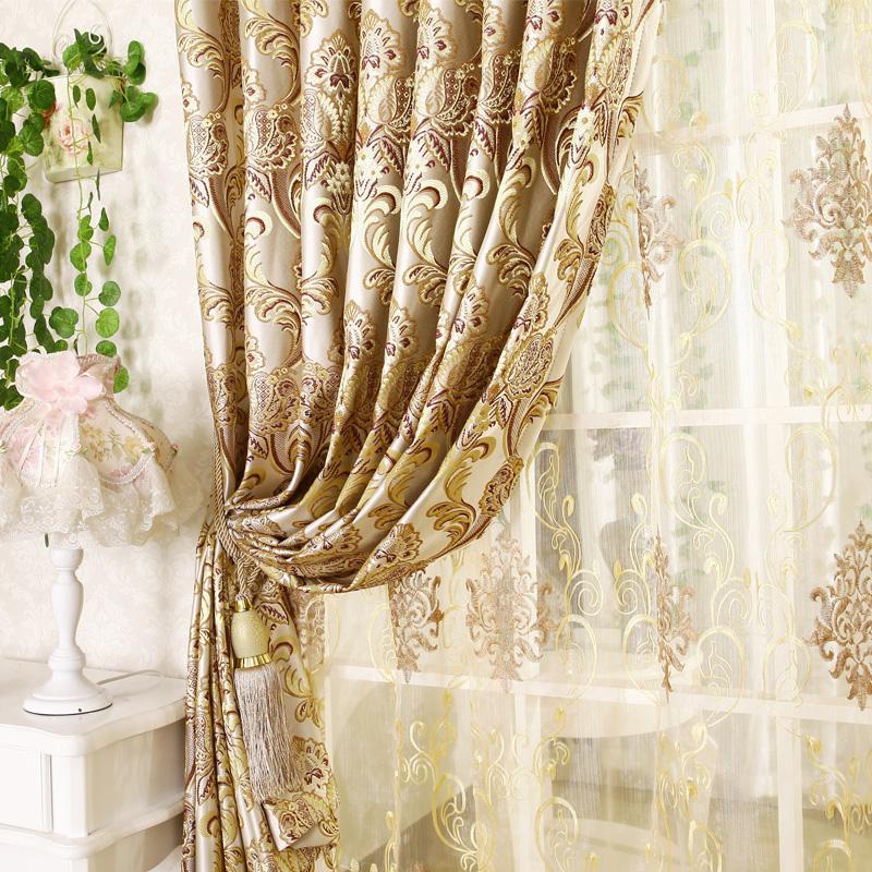 Qualidade moda jacquard cortina de luxo para sala de estar for Cortinas para sala de estar