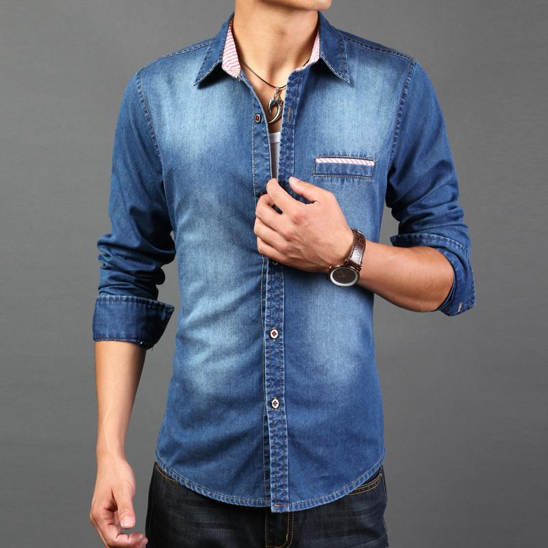 2016 high quality long sleeve denim shirts men casual for Best mens dress shirts 2016