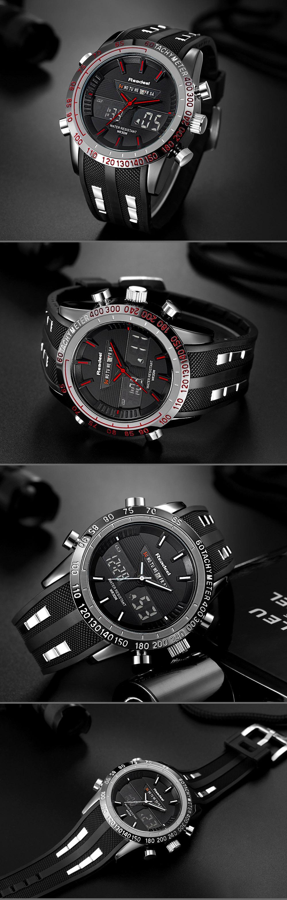 Роскошные брендовые часы мужские спортивные водонепроницаемый светодиодный 06