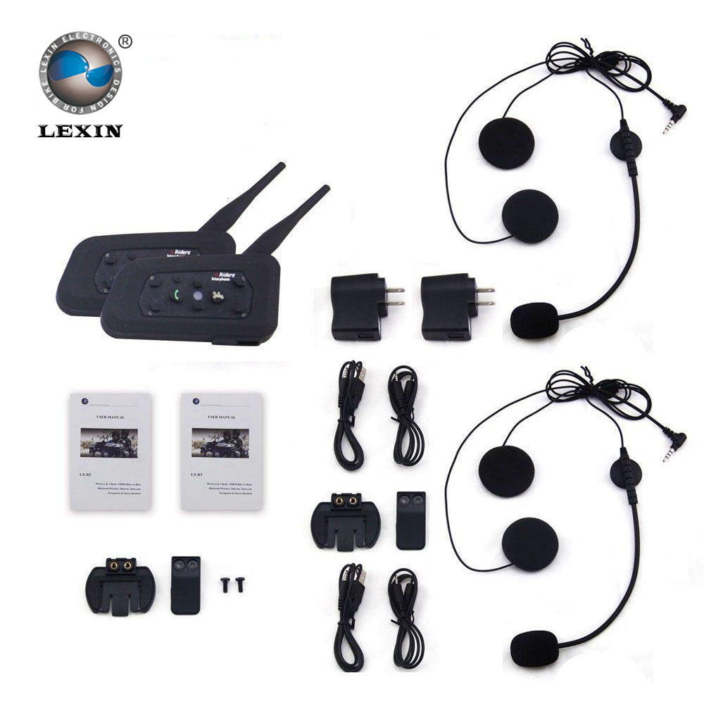 Brand Lexin New 2016!! 2PC Motorcycle BT Bluetooth Interphone Helmet Intercom upto 6 Riders intercomunicadores de motos(China (Mainland))