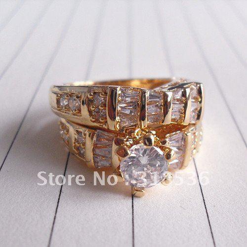 BLING!!!Fashion Jewelry Huge Zircon Gorgeous Dinner Rings ,Double Finger Golden Ring Size #8 #9