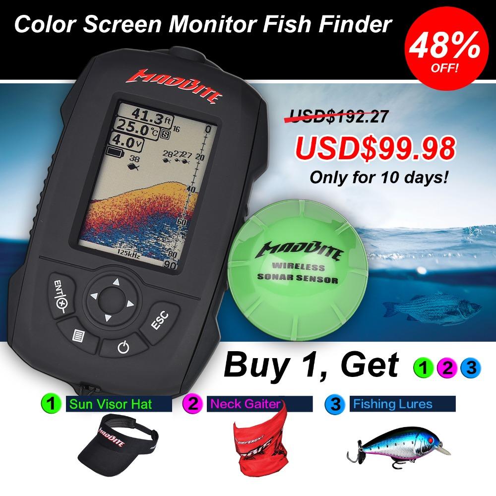 Madbite Wireless Portable Fish Finder Depth 45m/150 feet Sonar Sounder Alarm Transducer Fishfinder 120m Wireless Reception Range(United States)