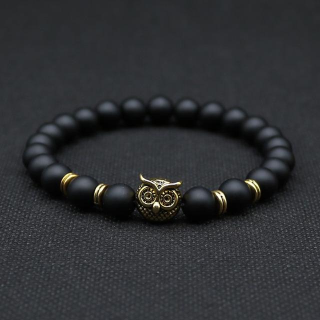 8 мм животных сова глава браслет с натуральным черный лавы камень энергия мужчины ...