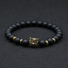 8mm Silver Plated Animal Owl Head Bracelet With Natural Black Lava Rock Stone Energy Men Beaded Bracelets For Women A-8(China (Mainland))