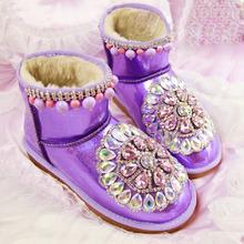 Nuevo invierno pu láser púrpura brillante plana botines bling bling del rhinestone boda botas de nieve mujeres con cuentas de ocio de invierno(China (Mainland))
