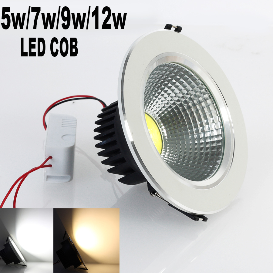 2015 Newest 5W/7w/9w/12w New Bright LED COB chip downlight Recessed Ceiling light Spot Light Lamp White/ warm white - Professional Manufacturer store