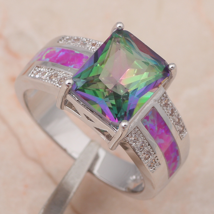 Rectangle deisgner Rainbow Topaz Inlay Purple fire Opal 925 Sterling Silver fashion Jewelry Rings USA Ring sz #7 #8 #9 #10 OR644(China (Mainland))
