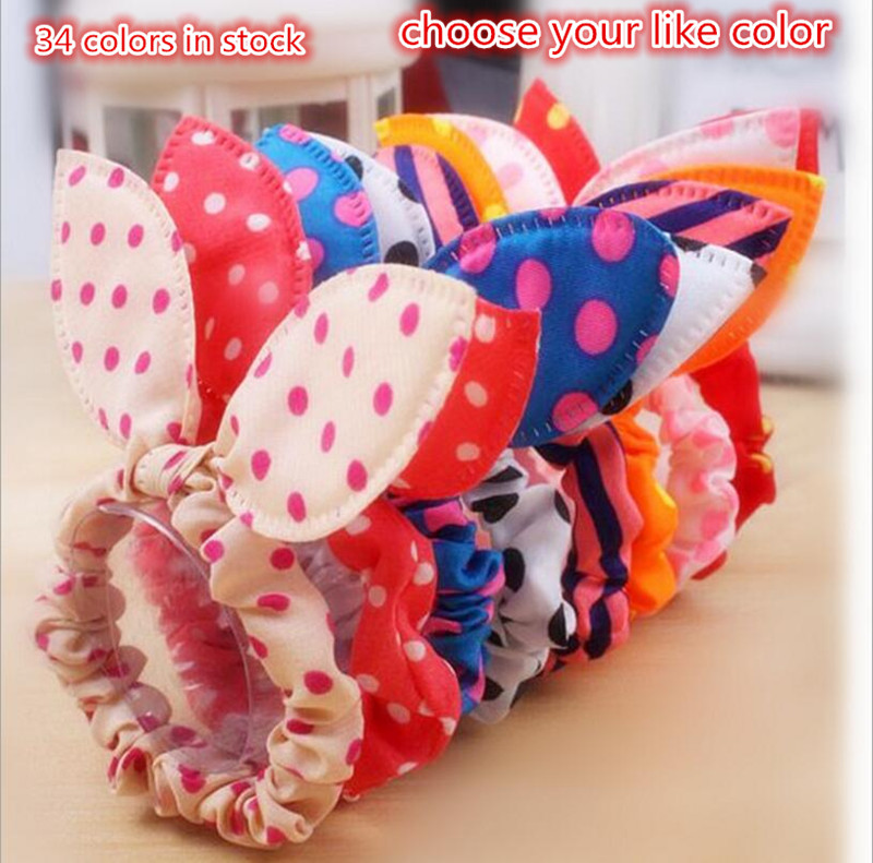 2016 Cute Girls Ponytail Holder Elastic Hair Rope Ties Rubber Band Rabbit Ears Polka Dot Hair Accessories acessorio para cabelo(China (Mainland))