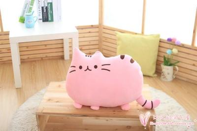 cartoon cat pillow plush toy 40x30cm soft pink cat cushion, throw pillow Christmas gift h711(China (Mainland))