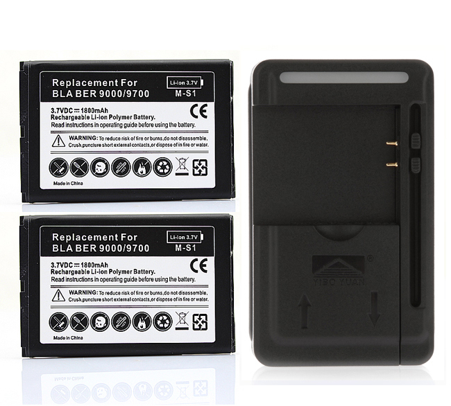 New 2x 1800mah Battery +Wall Charger For Blackberry bold 9000 9700 9780 Free Shipping Worldwide(China (Mainland))