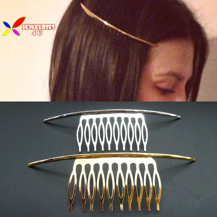 2015 New fashion punk gold silver simplicity metal ARC stick hair comb hair jewelry accessories for women peine del pelo mujer(China (Mainland))
