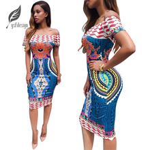 Summer New Sexy Women Ladies Casual Short Sleeve Off Shoulder Printed Slim Bodycon Party Dress Women Dress Summer Dress