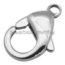 304 Stainless Steel Lobster Claw Clasps, Grade A, Size: about 12mm wide, 19mm long, 4.5mm thick, hole: 2mm