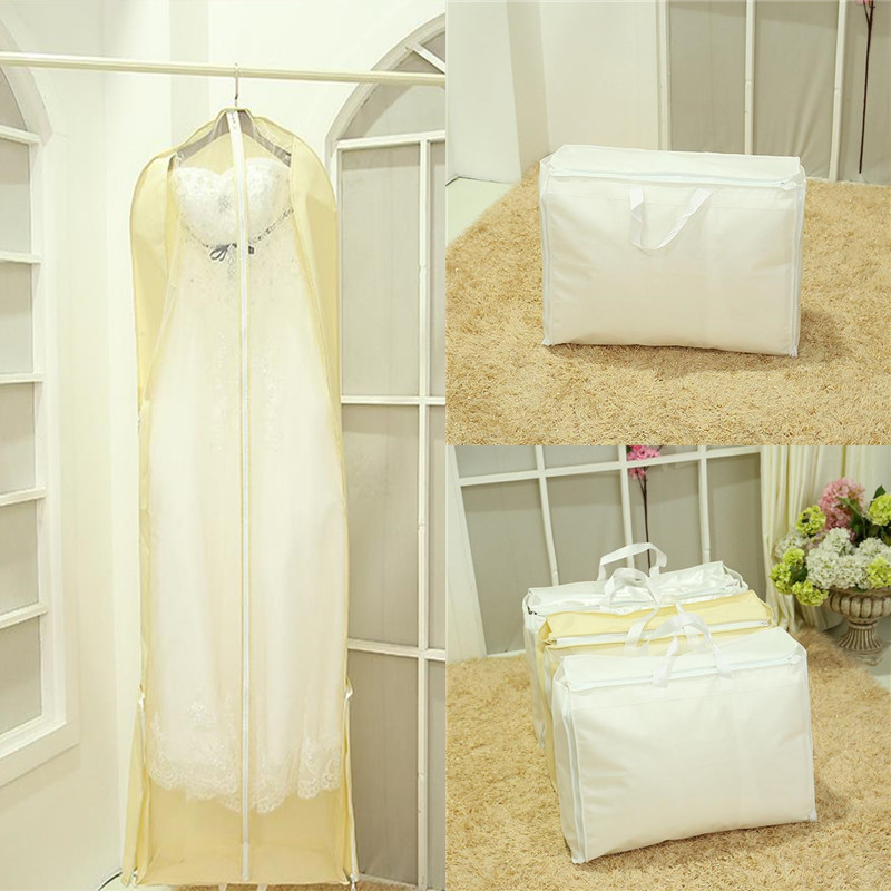 180cm 2 in 1 Wedding Dress Bags Clothes Cover Dust Cover Bride Bridesmaid Garment Bags Bridal Gown Bag Dress Cover Cheap(China (Mainland))