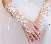 Ivory Simple Bride Wedding Gloves Evening Fingerless Luva De Noiva Luva Lace Bridal Gloves Para Noiva Wedding Accessories 11301(China (Mainland))