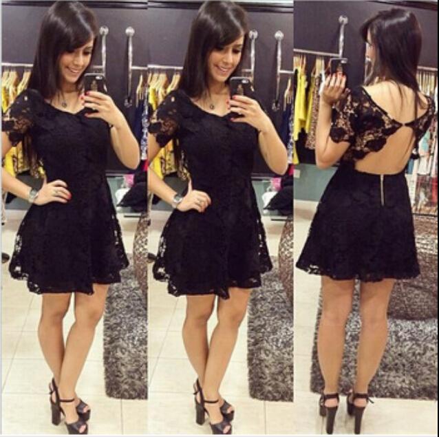 2015 NEW WOMEN FASHION SEXY LACE BLACK DRESS LADY summer mini dresses European version summer sexy lace racerback bow  dress(China (Mainland))
