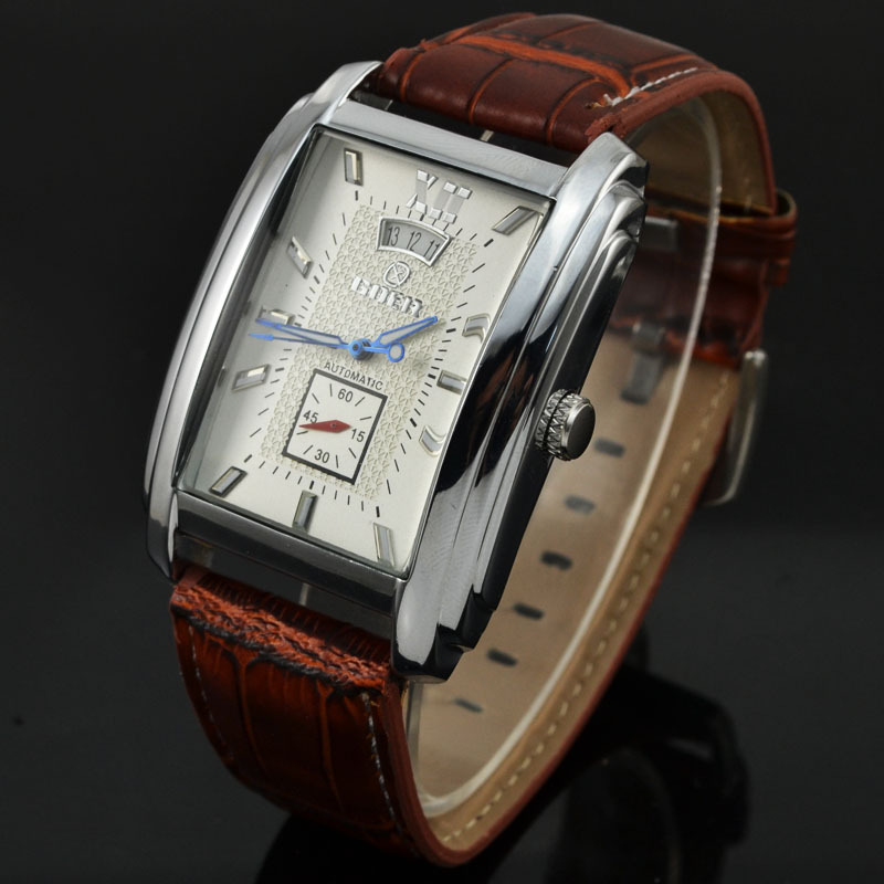 2016Goer Automatic Watch Men Elegant Rectangular Dial Date Brown Leather Band Business Mechanical Watches Relogios Masculinos - 's store
