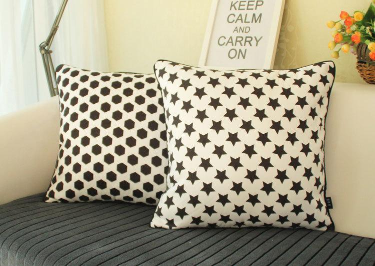 Fashion korean style home textile soft furnishing design black and white font b stars b font